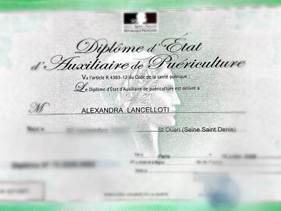 alexandra lancellotti diplôme d'auxiliaire de puériculture